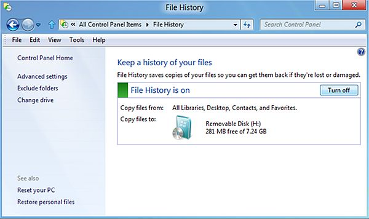 A biztons�gi ment�seket ezek ut�n a File History seg�ts�g�vel k�sz�thetj�k majd el