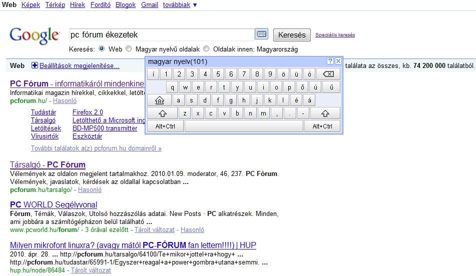 Virtuális billentyűzettel segít a keresésben a Google