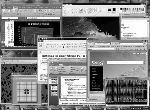 """A Microsoft kutatói már el is készítette a Windows 7 """"drawbridge-es"""" változatát, amin fut többek között az Excel, a Word és az IE is"""