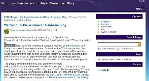 Az inkriminált blogposztot Redmond megjelenését követően perceken belül eltávolította (kép: Neowin.net)