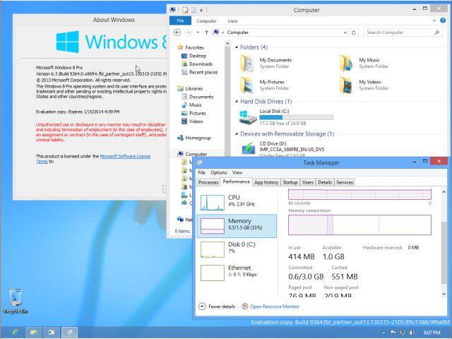 A kiszivárgott változat a gyanú szerint a Windows Blue Milestone 1-es verzióját képezi, amit hamarosan egy nyilvános előzetes követhet majd