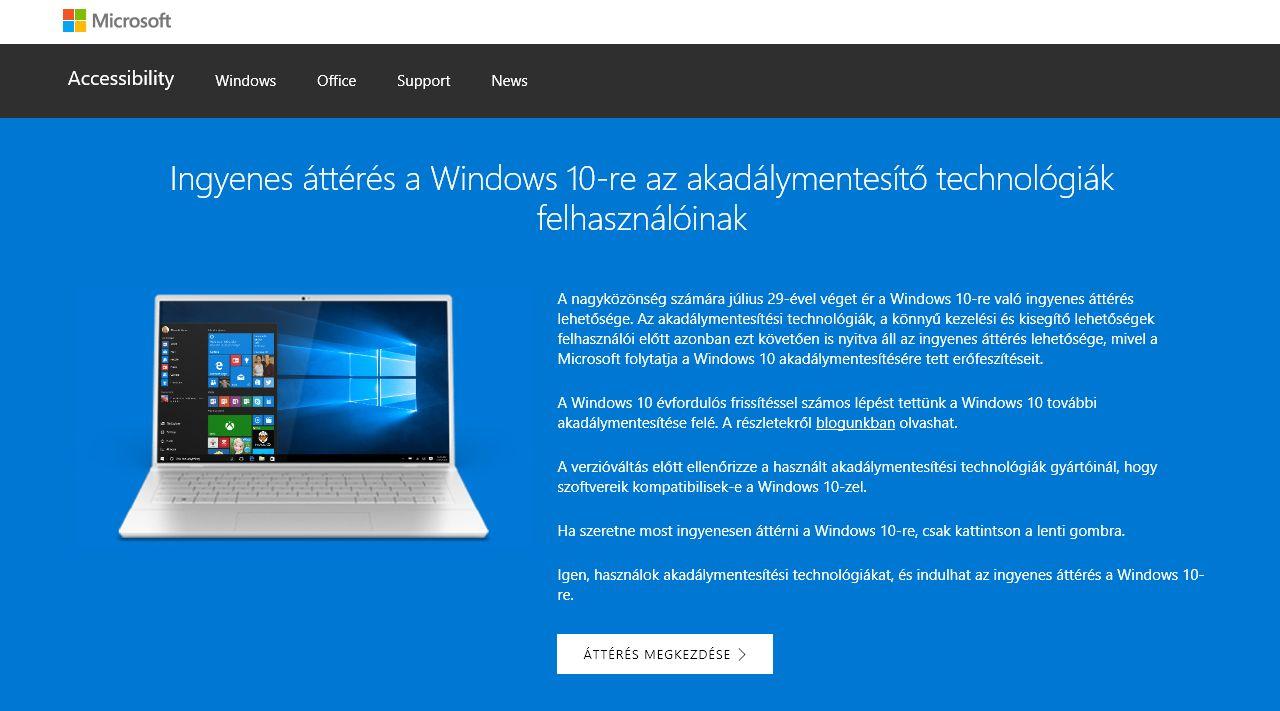 A Windows 10-re frissítés továbbra is ingyenes - de már csak a kisegítő  lehetőségeket használóknak 45594f9ccb