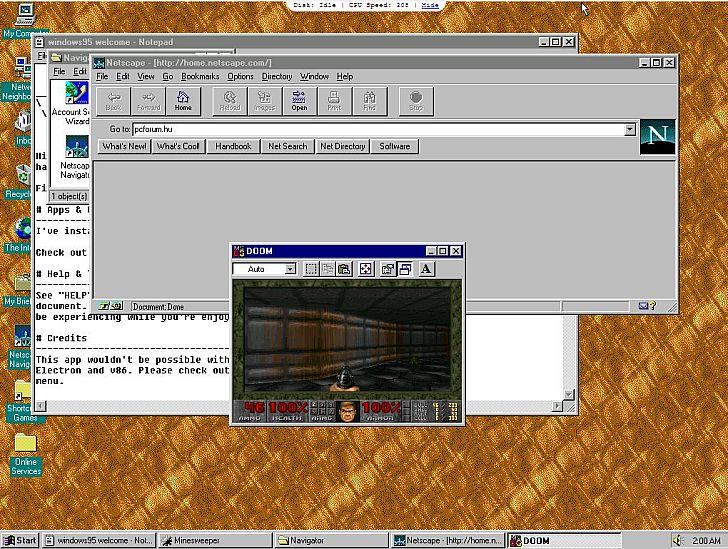 A Windows 95 2.0-ban már játszani, sőt, weblapokat szerkeszteni is lehet